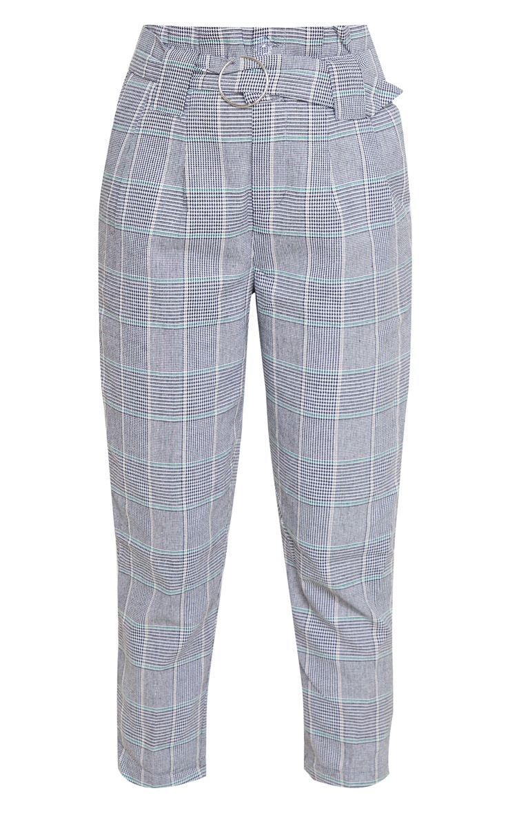 Grey Check Paper Bag Woven Pants 3