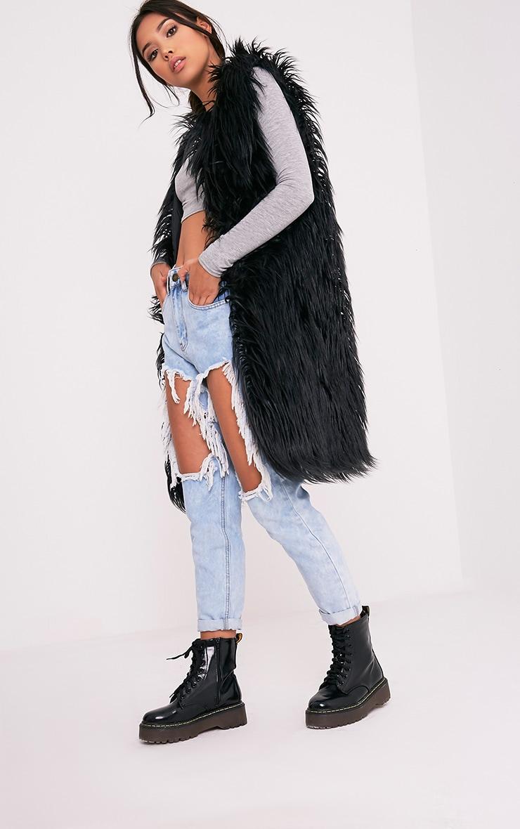 Brogen Black Soft Faux Fur Longline Gilet 1