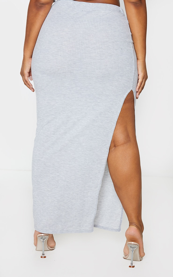 Plus Grey Soft Rib Split Front Maxi Skirt 3