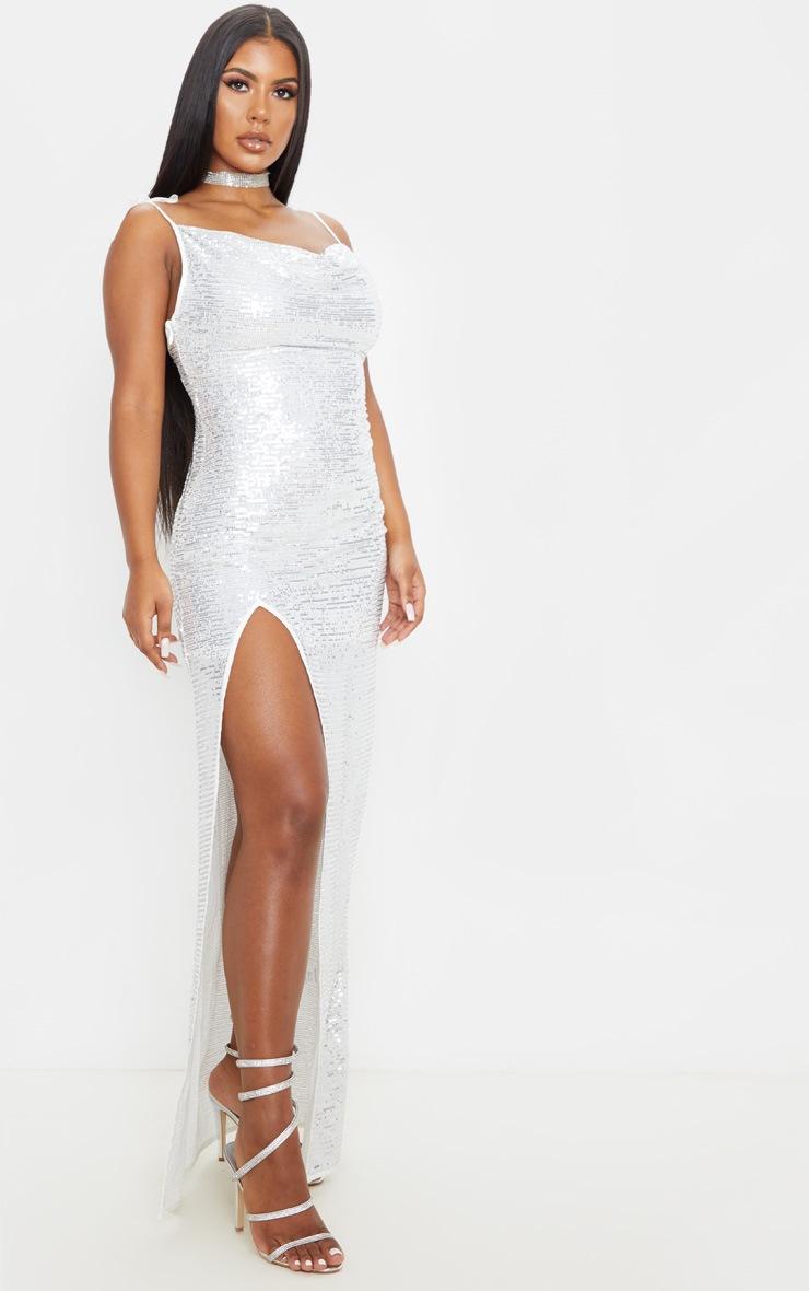 Silver Sequin Tie Strap Cowl Neck Maxi Dress 4