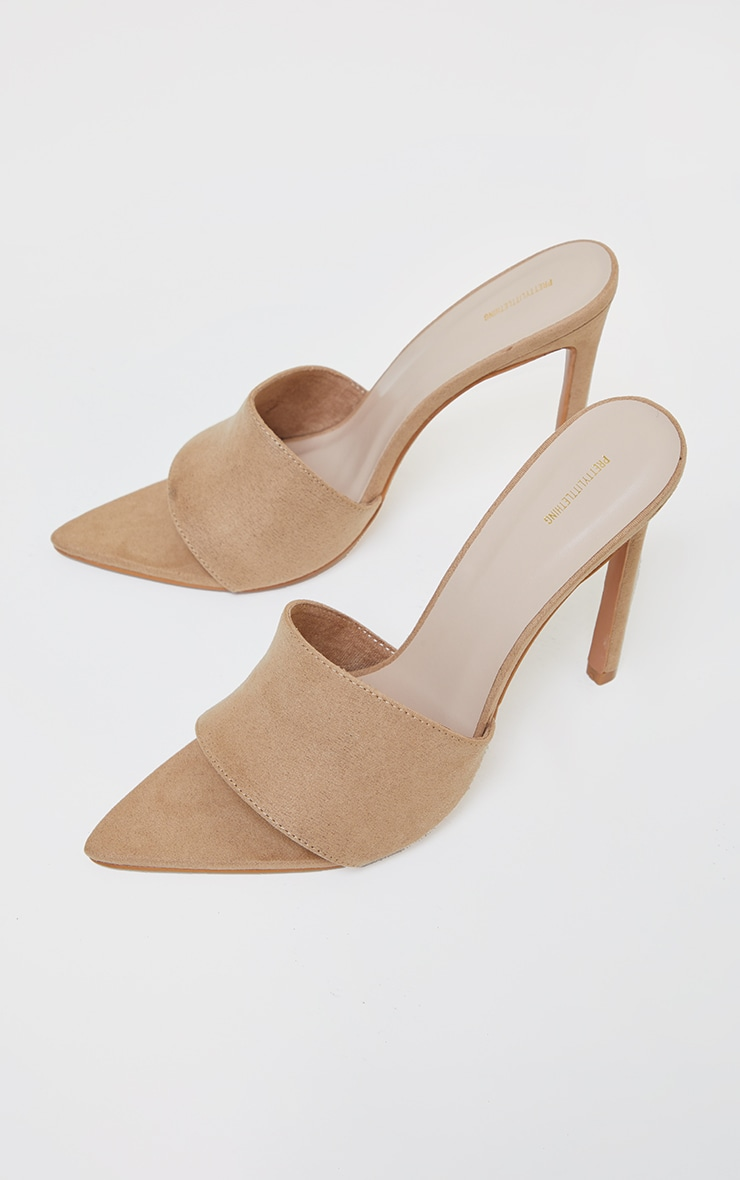 Sand Faux Suede Strap Point Toe High Heels 3