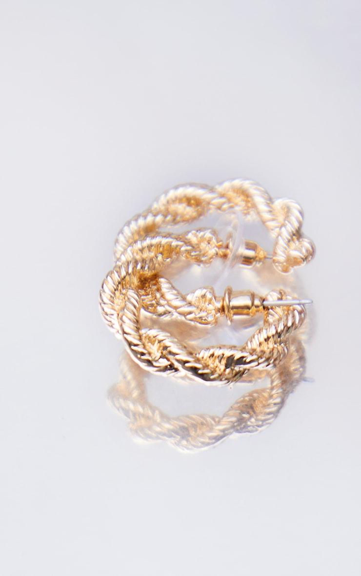 Gold Mini Textured Twist Hoop Earrings 3