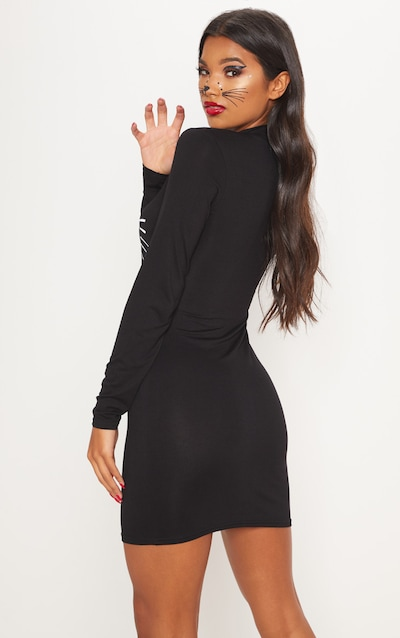 Black Cat Print Bodycon Dress