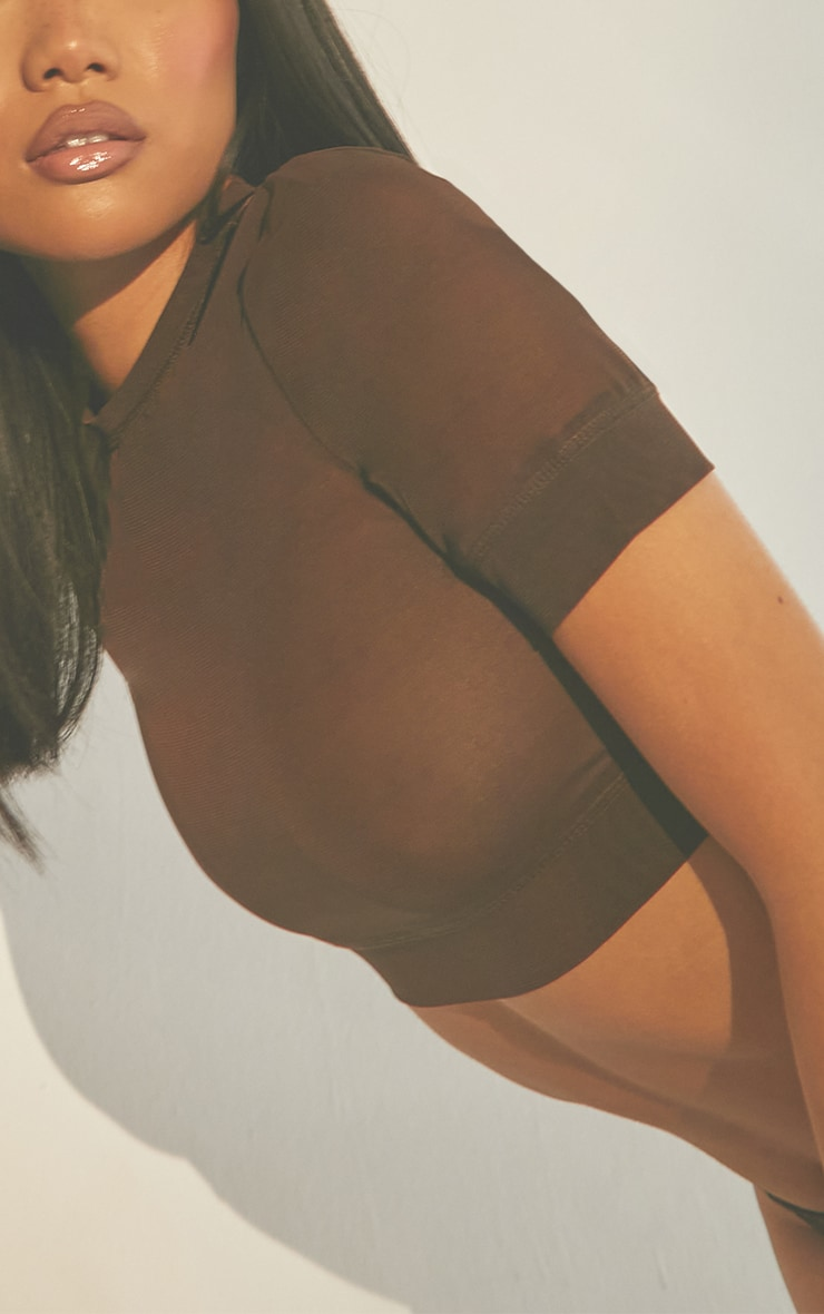 Second Skin Walnut Cropped Mesh Lingerie Top 4