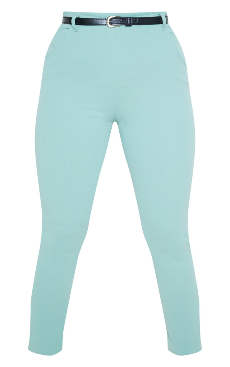 Dusty Turquoise Belted Cropped Pants 3