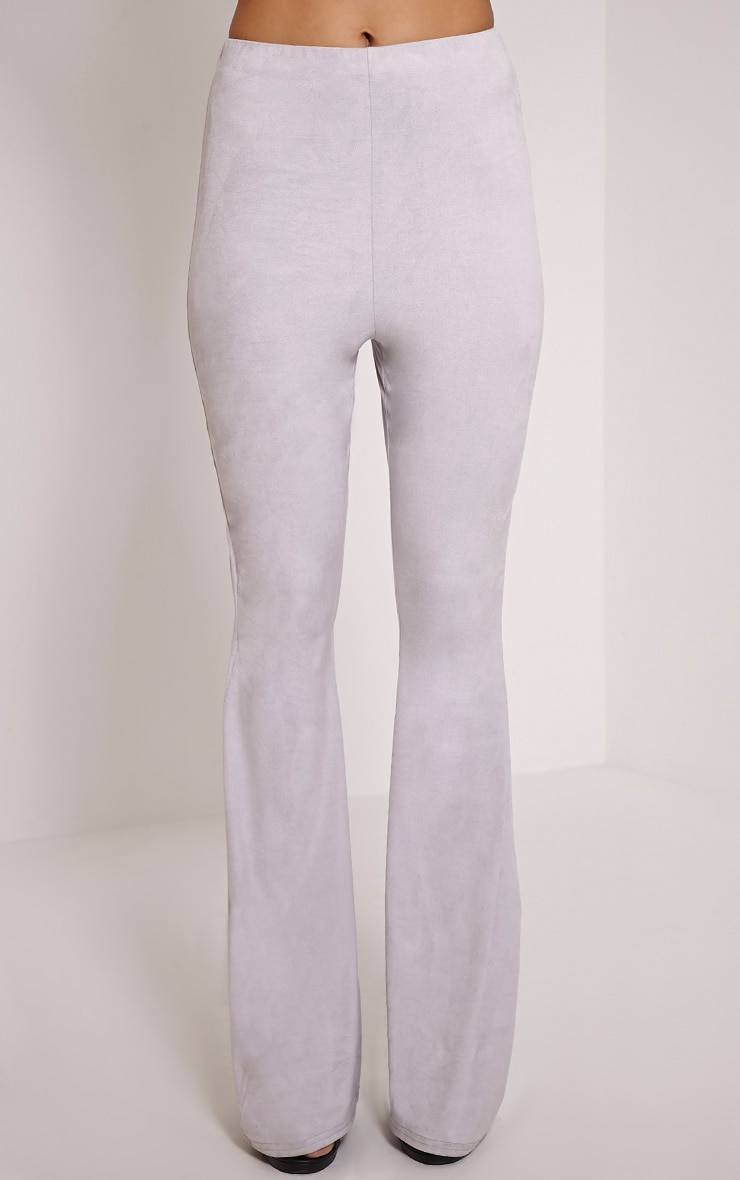Sloan Grey Faux Suede Flared Trousers 2