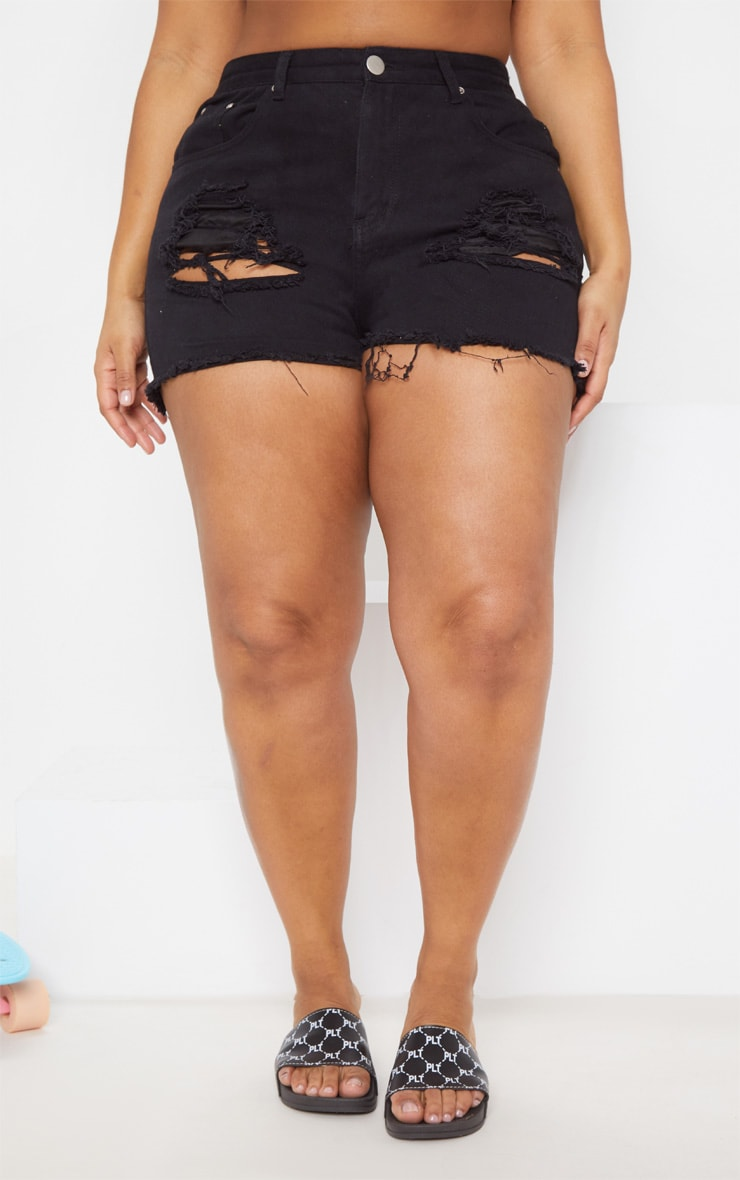 Plus Black Ripped Frayed Hem Denim Shorts 2