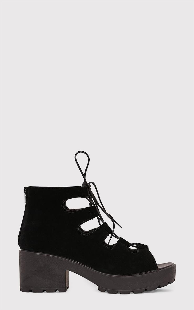 Caprice Black Faux Suede Lace Up Sandals 3