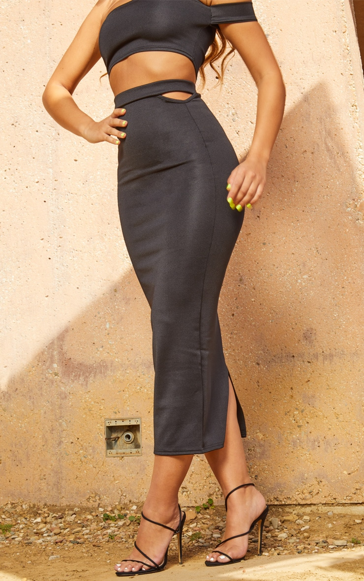 Black Second Skin Cut Out Midi Skirt 2