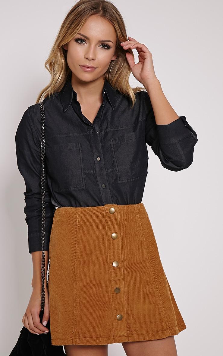 Aria Black Denim Shirt 1