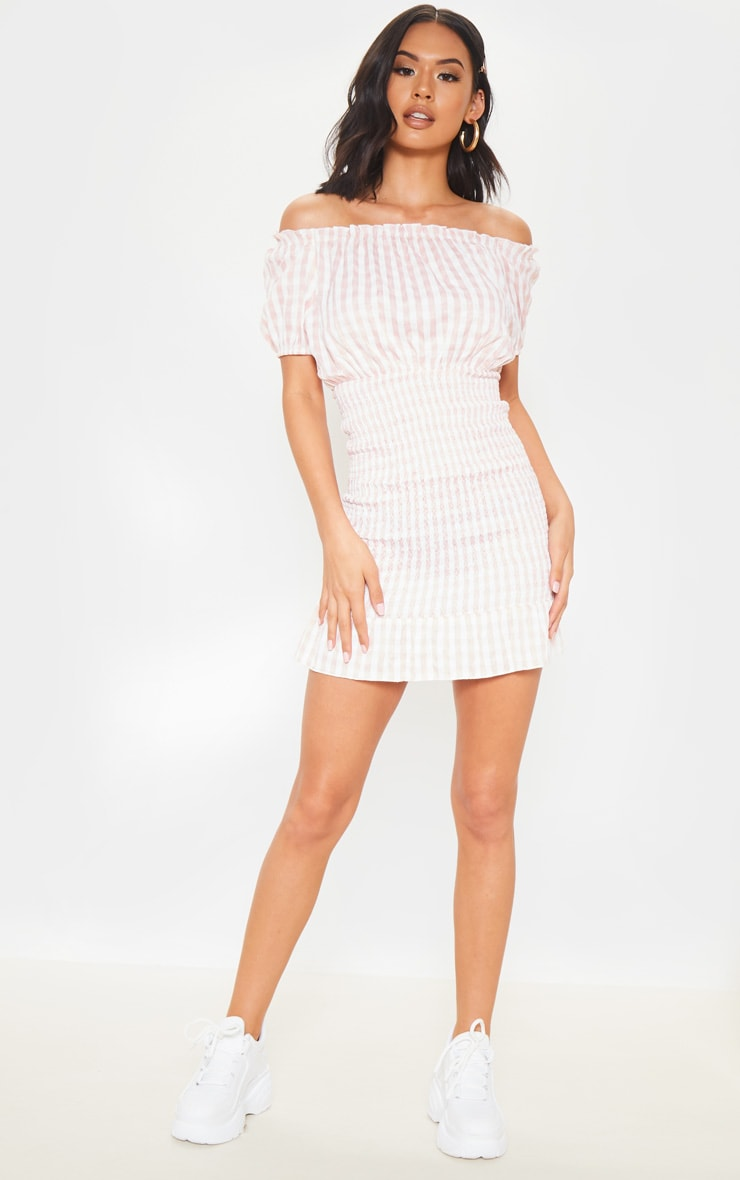 Pink Gingham Shirred Bardot Bodycon Dress 4
