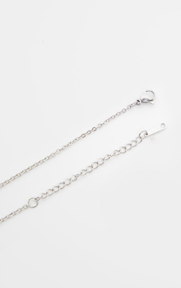 Silver Simple Rectangle Diamante Drop Necklace 4