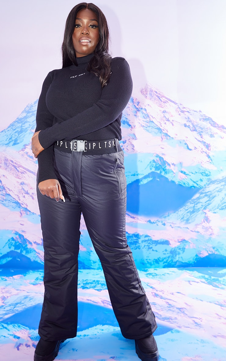 PRETTYLITTLETHING PLUS SKI BLACK FIT AND FLARE SKI TROUSERS