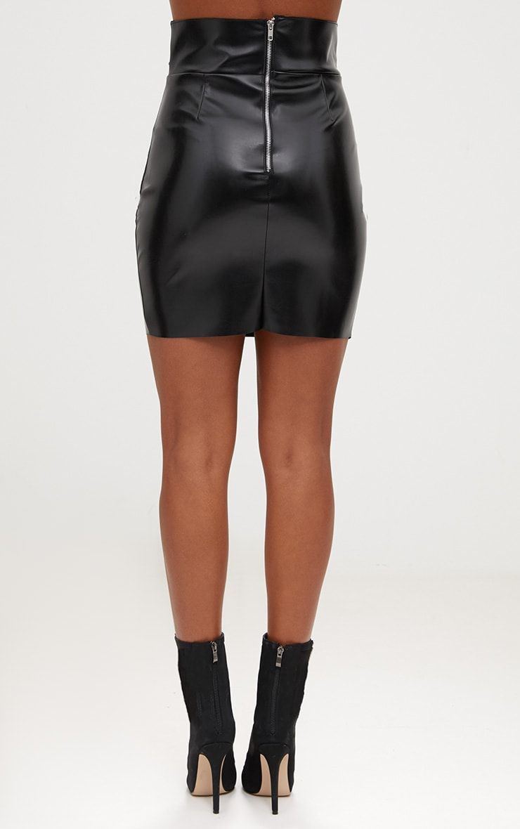 Black Faux Leather Strappy Waist Mini Skirt 4