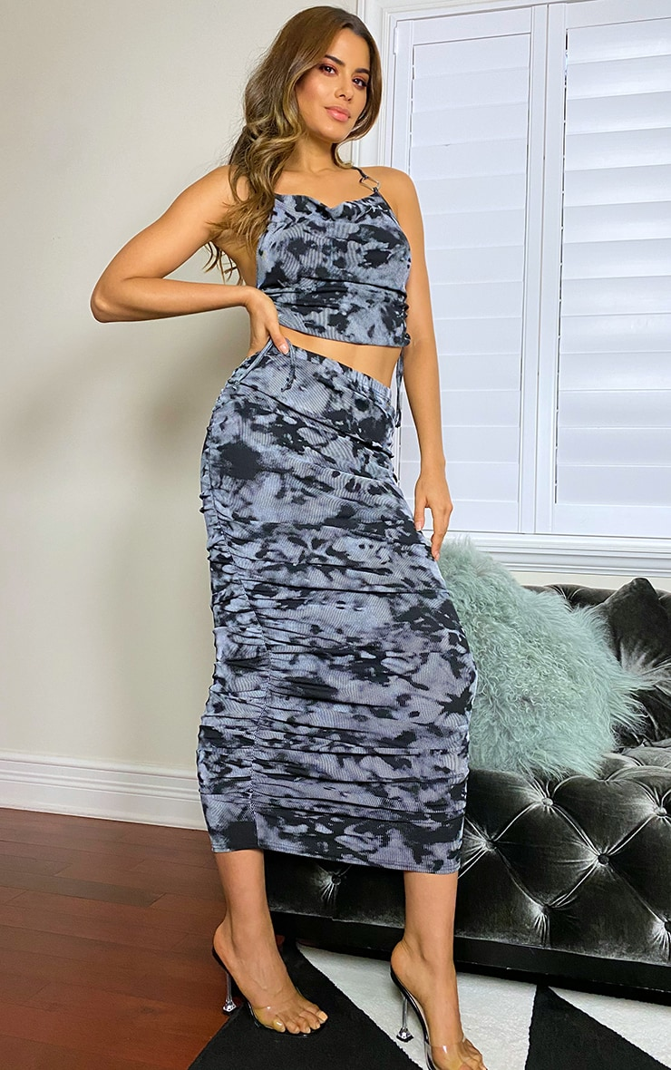 Tall Grey Ruched Midaxi Skirt 1
