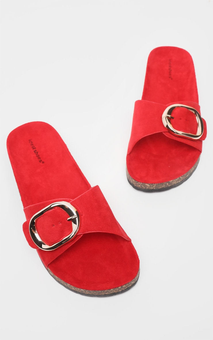 Red Buckle Detail Mule Sandal 1