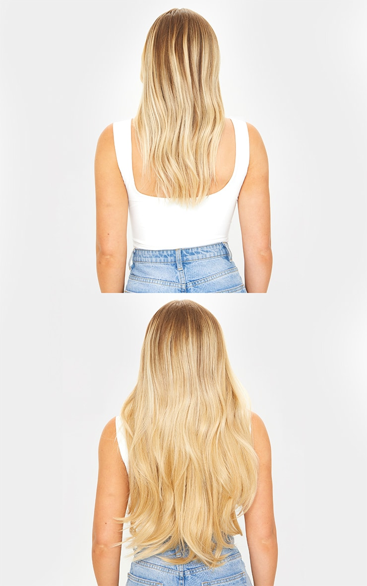 LullaBellz Super Thick 22'5 Piece Straight Clip In Hair Extensions Golden Blonde 4