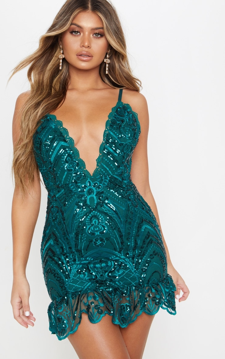Emerald Green Sequin Lace Frill Hem Bodycon Dress 1