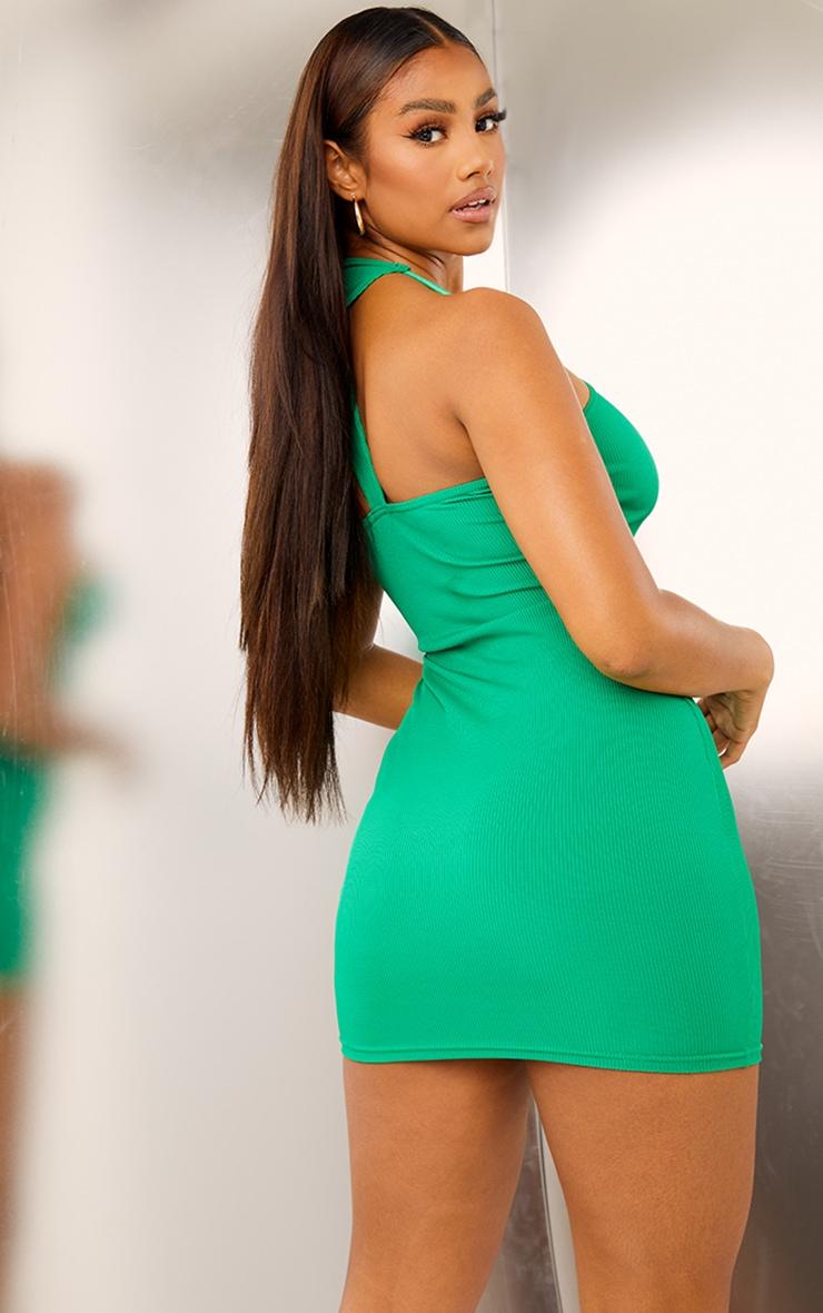 Green Ribbed Asymmetric Neck Detail Bodycon Dress 2
