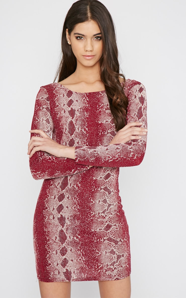 Moki Red Glitter Snake Print Mini Dress 5
