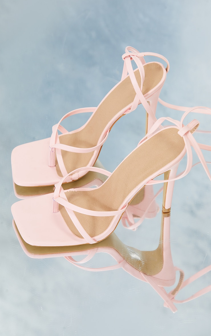 Baby Pink PU Strappy Heeled Sandals 4