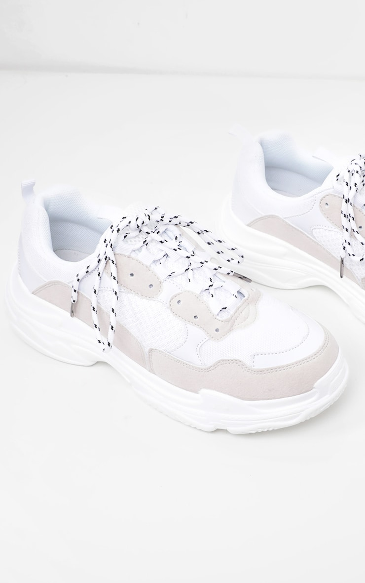 White Lace Up Chunky Trainer 3