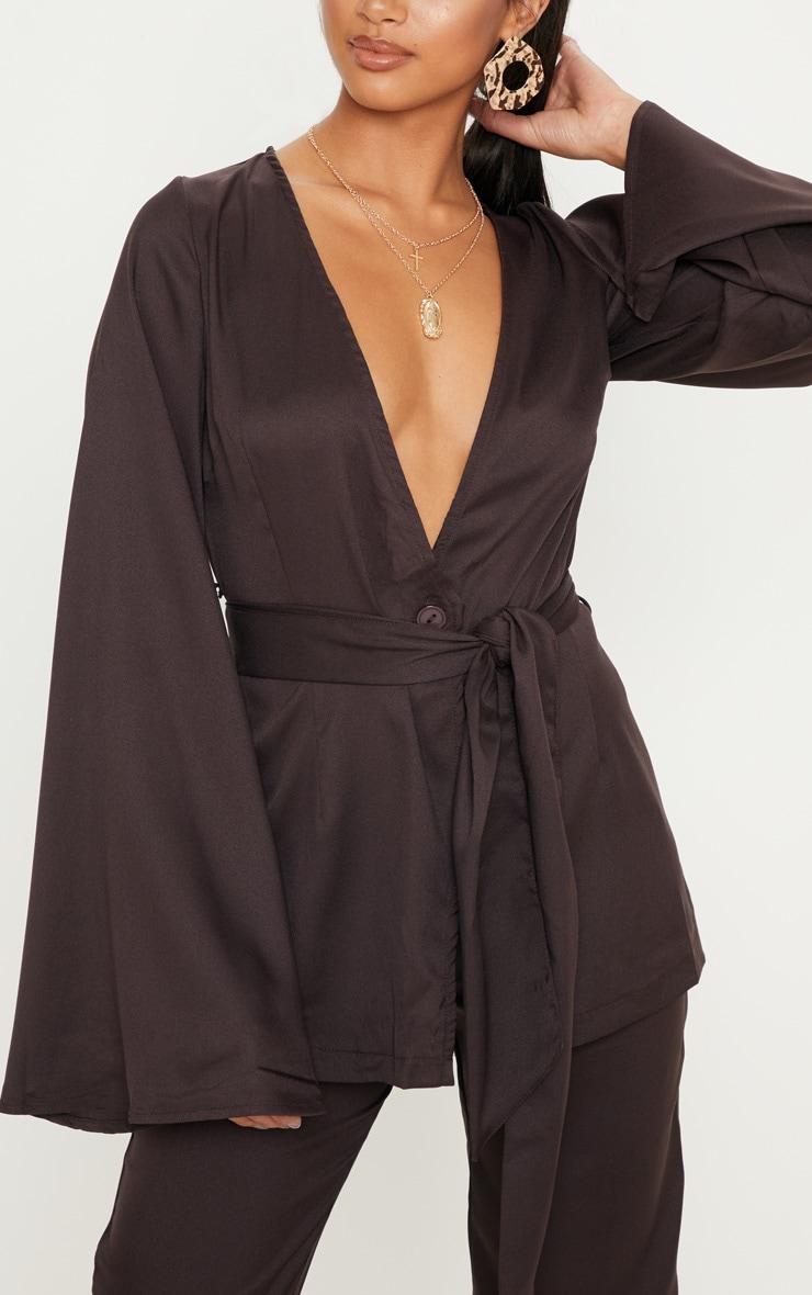 Petite Chocolate Brown Belt Detail Blazer 5