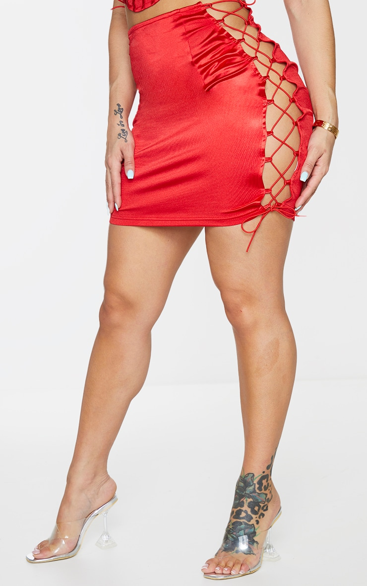 Shape Red Strappy Side Bodycon Skirt 2