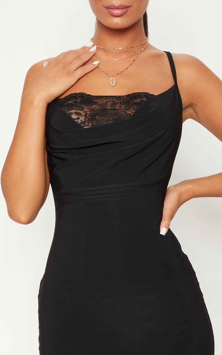 Black Lace Insert Cowl Bodycon Dress 5