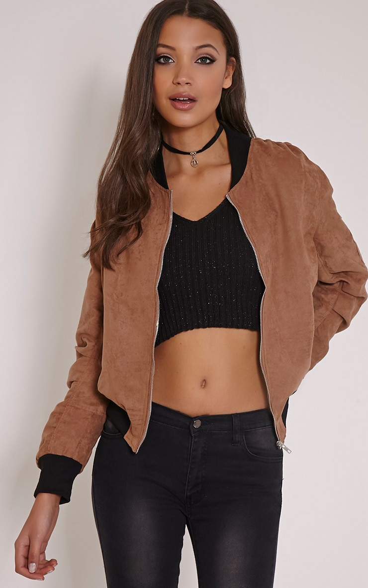 Poppie Tan Suede Bomber Jacket 1