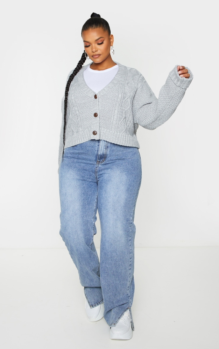 Plus Light Grey Cable Cropped Cardigan 3