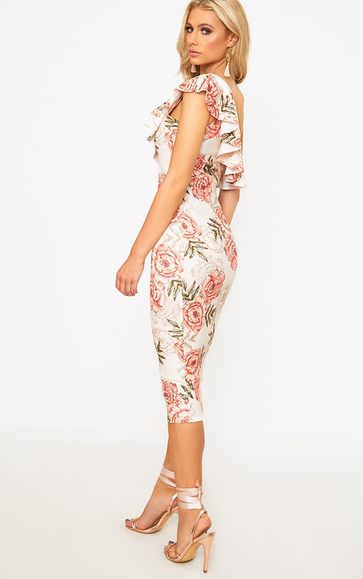 Pink Floral One Shoulder Ruffle Midi Dress 2