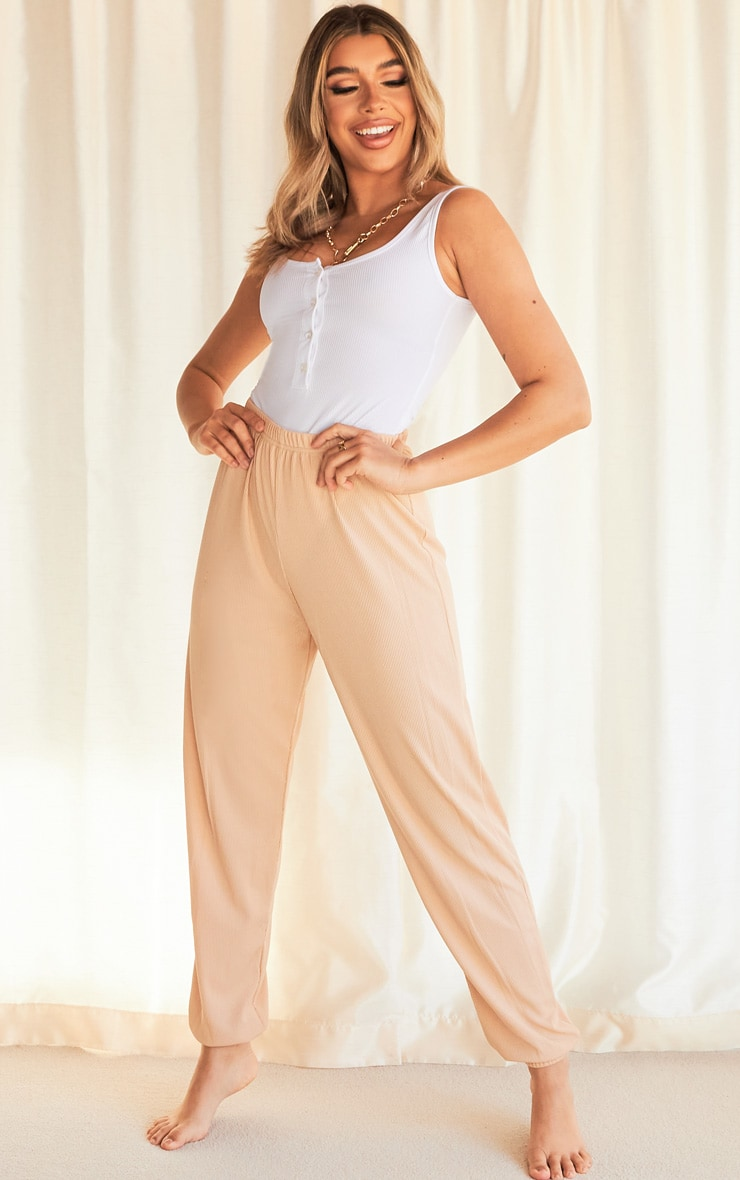 Taupe Ribbed Casual Joggers 4