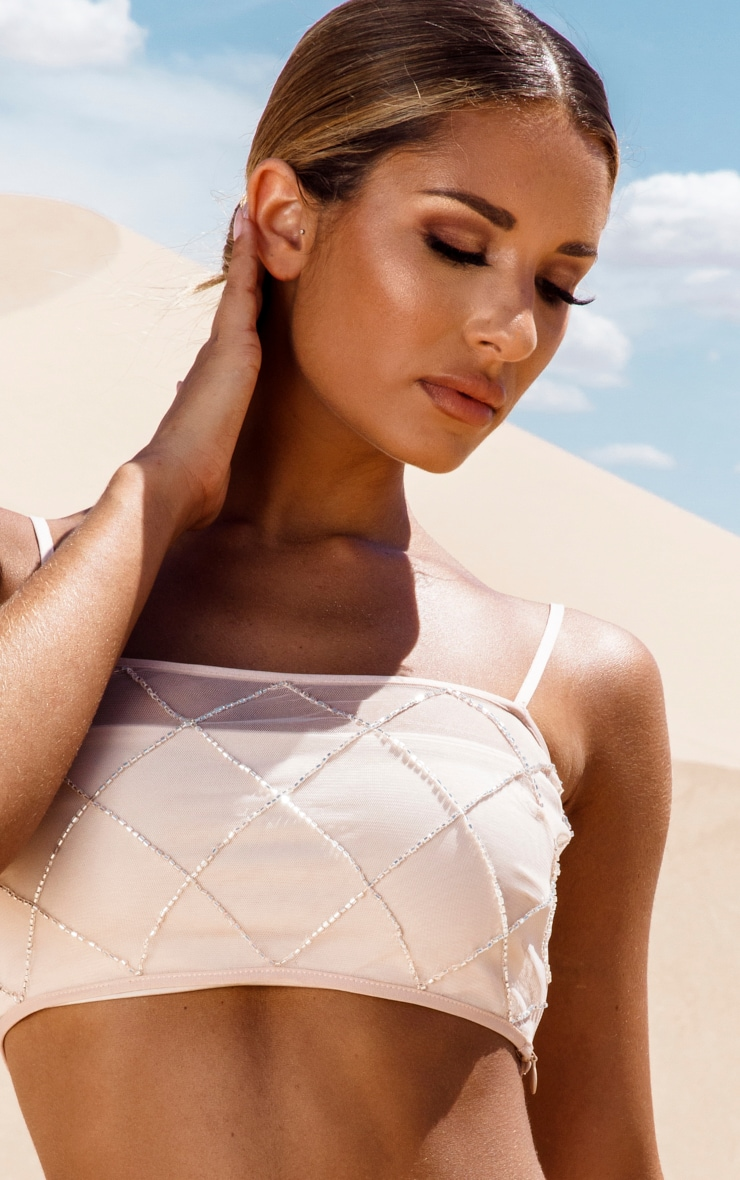 Nude Beaded Grid Beach Top 5