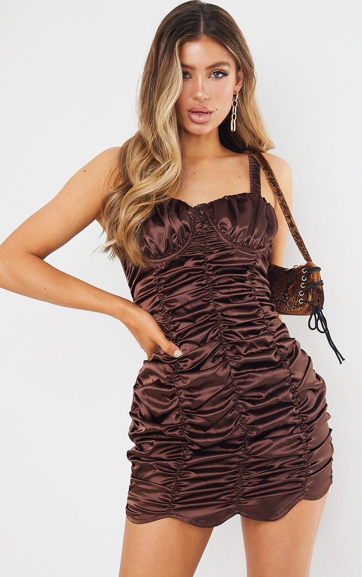 Chocolate Satin Ruched Cup Detail Elastic Strap Bodycon Dress 6