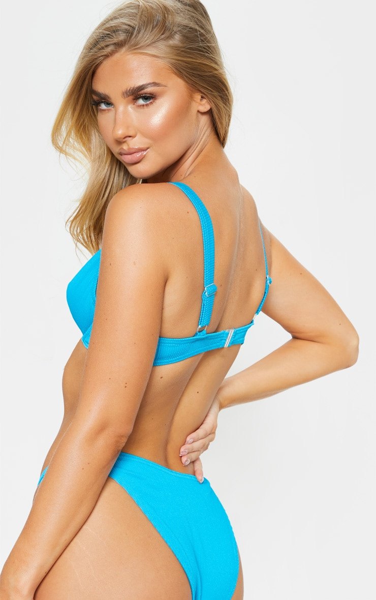 Turquoise Ribbed Underwired High Apex Bikini Top 2