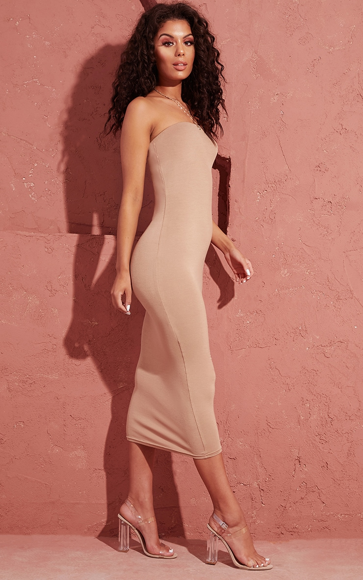 Basic Camel Bandeau Midaxi Dress 4