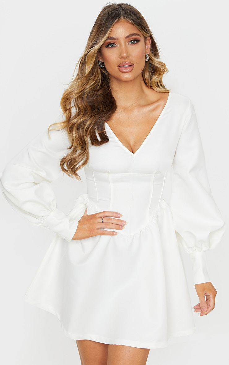 White V Neck Puff Sleeve Corset Detail Skater Dress 4