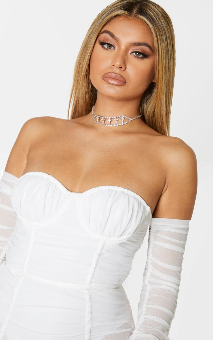 White Mesh Ruched Velvet Binded Bardot Midi Dress 5
