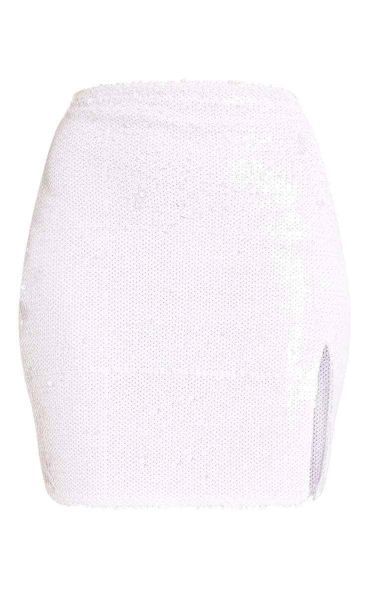 Dawna White Side Split Sequin Mini Skirt 3