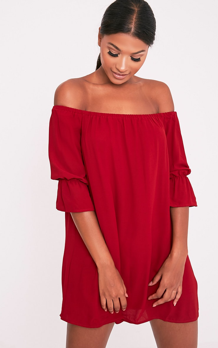 0e9ab6be174e Shanaya Burgundy Long Frill Sleeve Bardot Shift Dress - Dresses ...