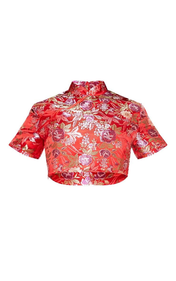 Plus Red Oriental High Neck Crop Top 3
