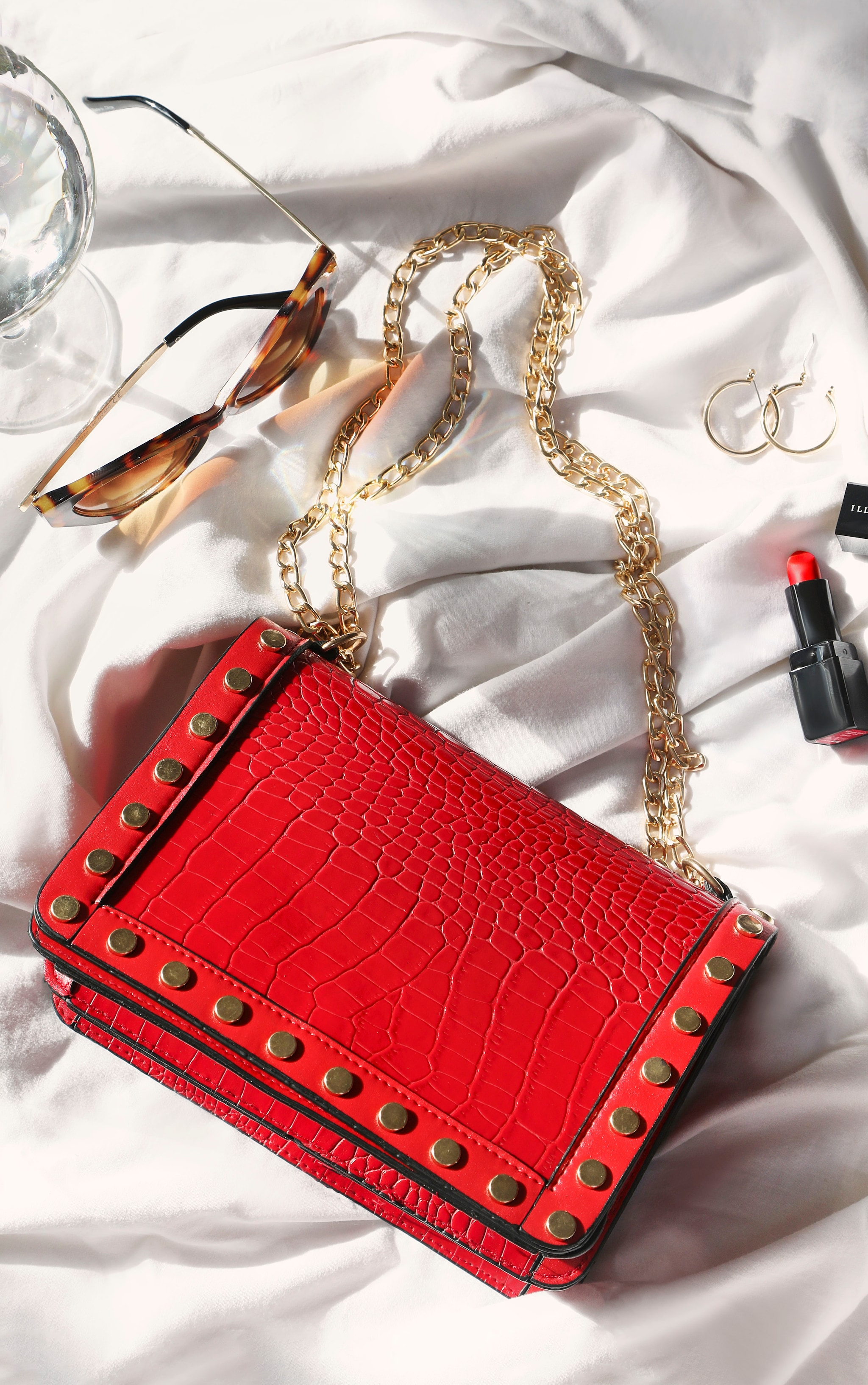 Red Studded Croc Cross Body Bag 1
