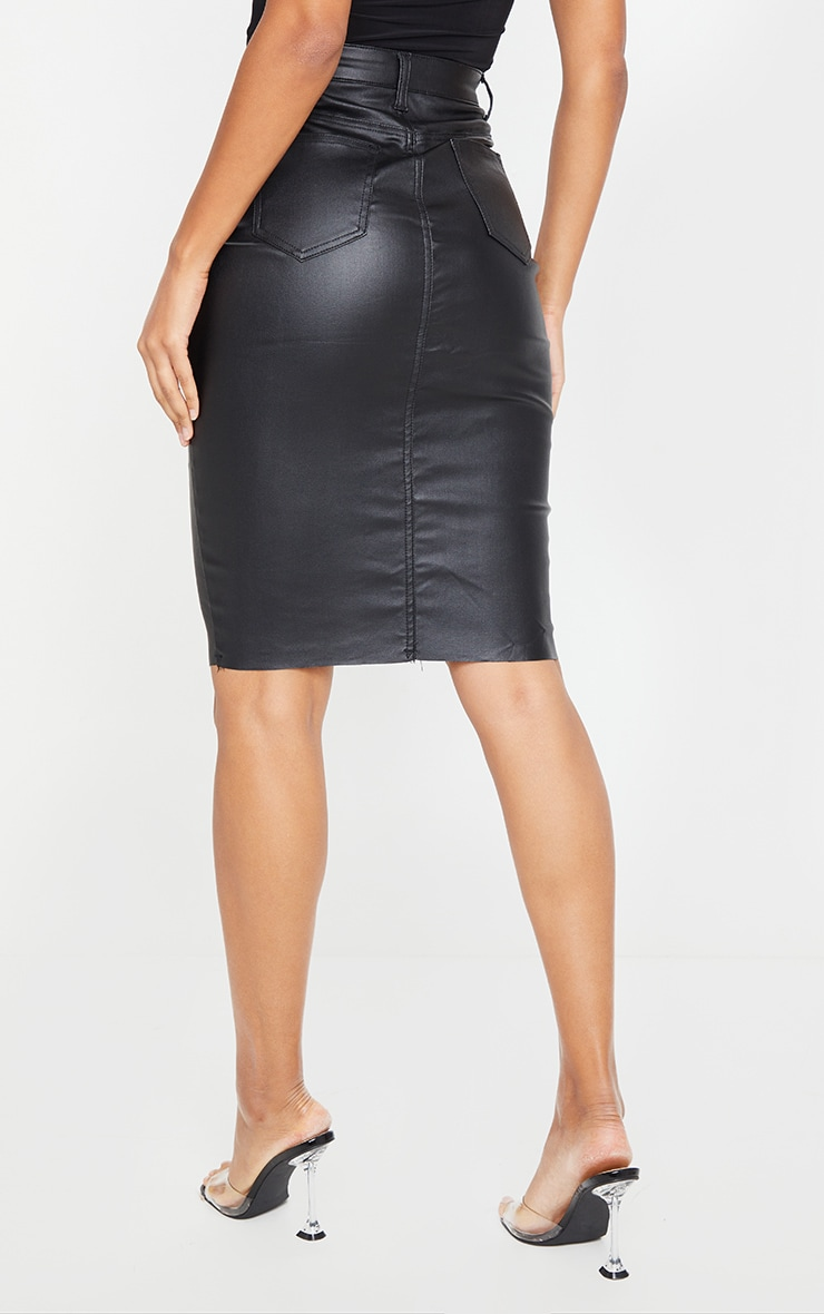Black Coated Denim Midi Skirt 3