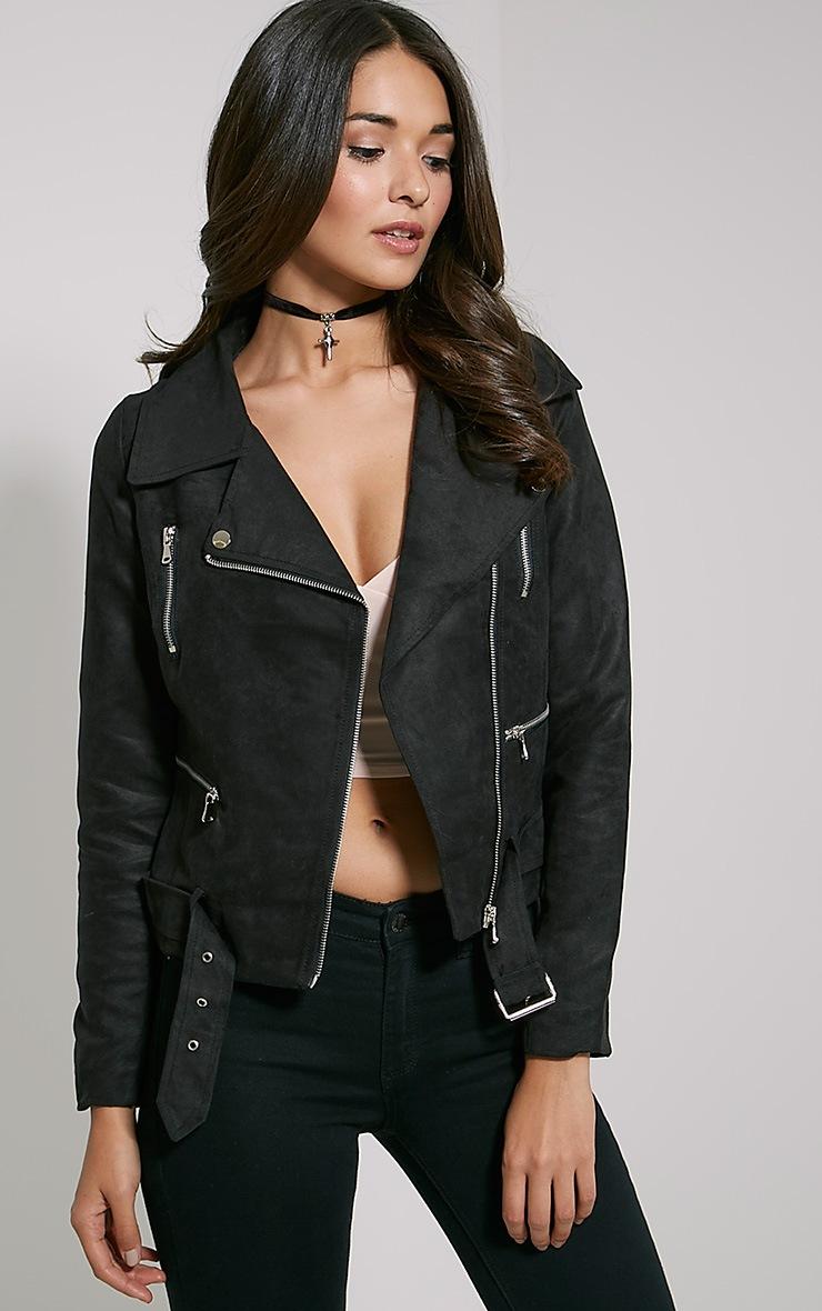 Ivona Black Faux Suede Biker Jacket 1