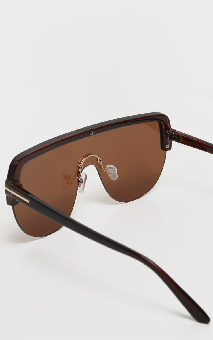 Brown Tinted Lens Tortoiseshell Frame Oversized Sunglasses 4