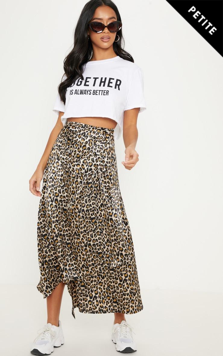 Petite - Jupe mi-longue satinée à imprimé léopard marron et taille à boutonner