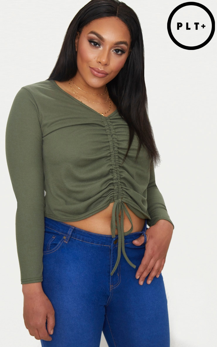 Sale Pay With Paypal Free Shipping Cheap Quality PRETTYLITTLETHING Plus Khaki Ribbed Ruched Crop Top yDu2P48r
