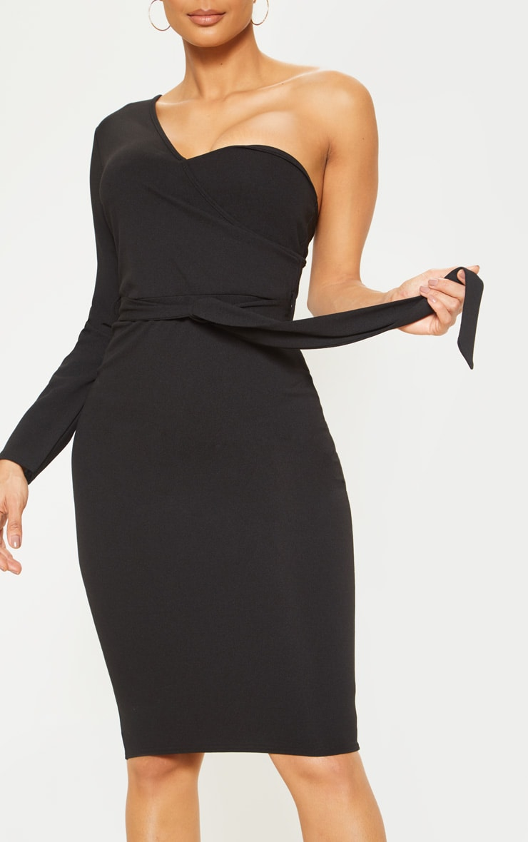 Black One Shoulder Tie Waist Midi Dress 5