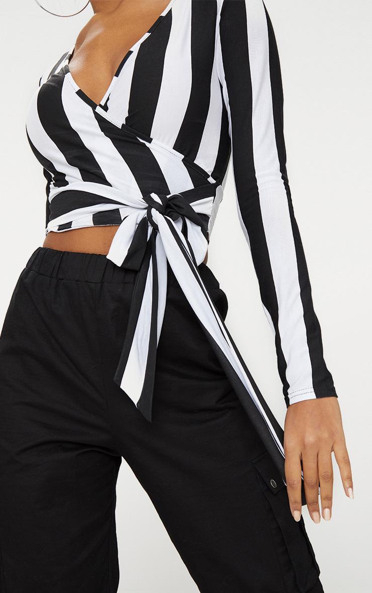 Black/ White Bold Stripe Tie Waist Crop Top  5